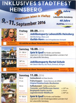 Programm Stadtfest Heinsberg