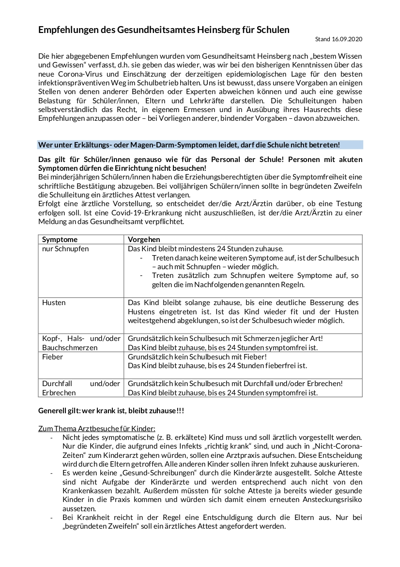 Corona 1-4 Infoblatt Schulen 16.09.2020 neutral
