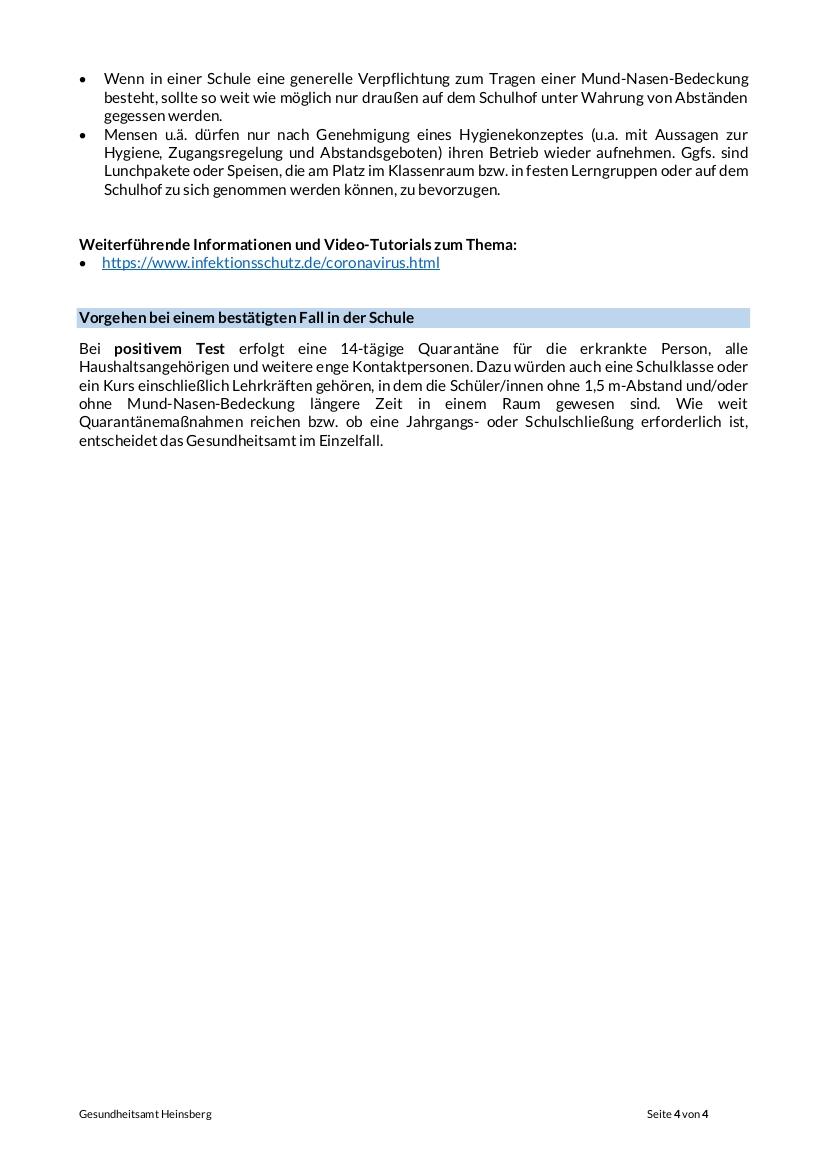 Corona 4-4 Infoblatt Schulen 16.09.2020 neutral