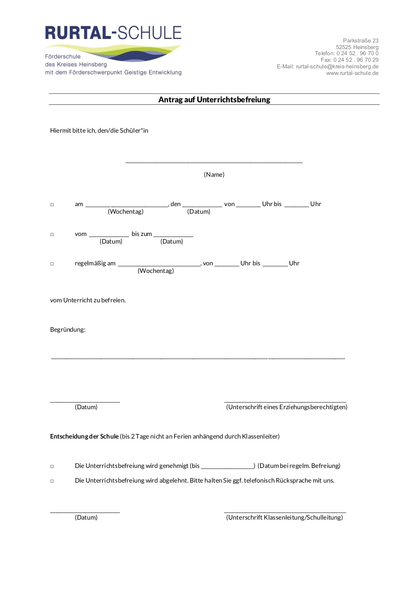 Formular Antrag Unterrichtsbefreiuung