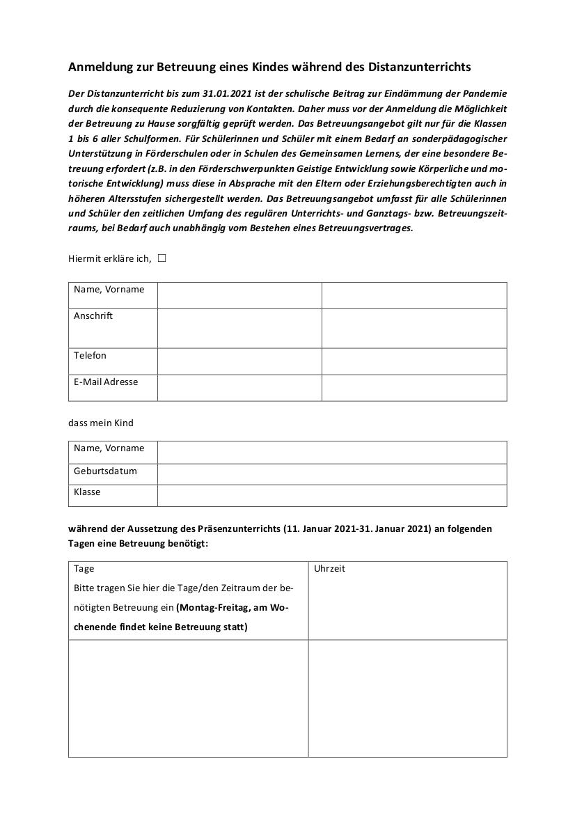 Anlage Anmeldung Betreuung bis zum 31. Januar 2021 1-2